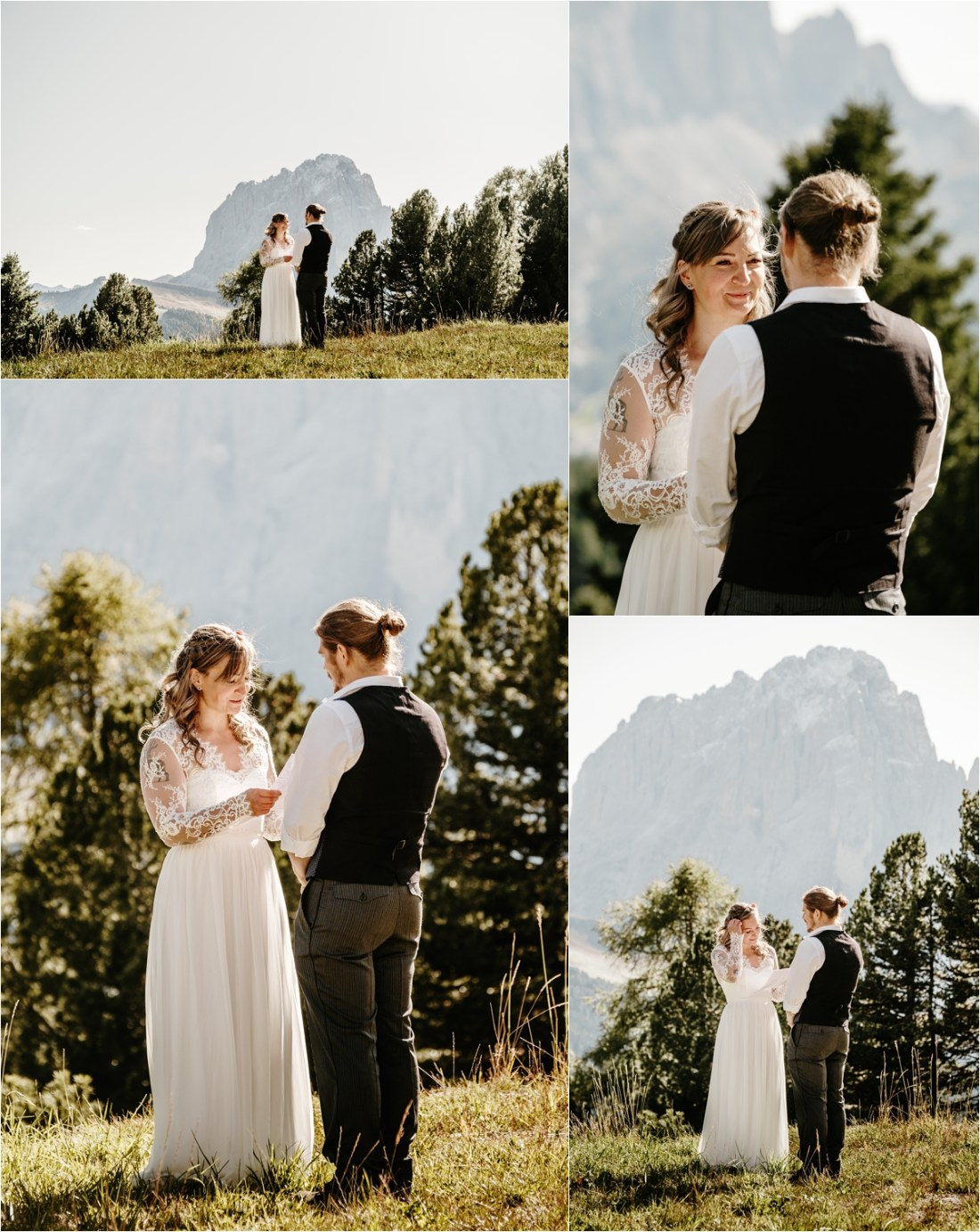 Alpe di Siusi elopement in the Dolomites. Photos by Wild Connections Photography