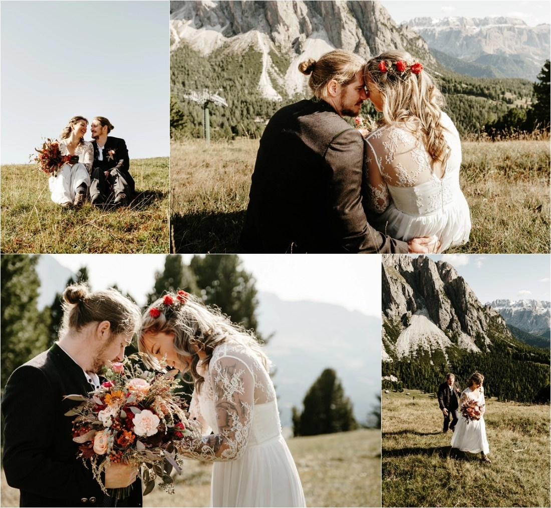 Bride and groom enjoy the views of the Alpe di Siusi in the Dolomites. Photos by Wild Connections Photography
