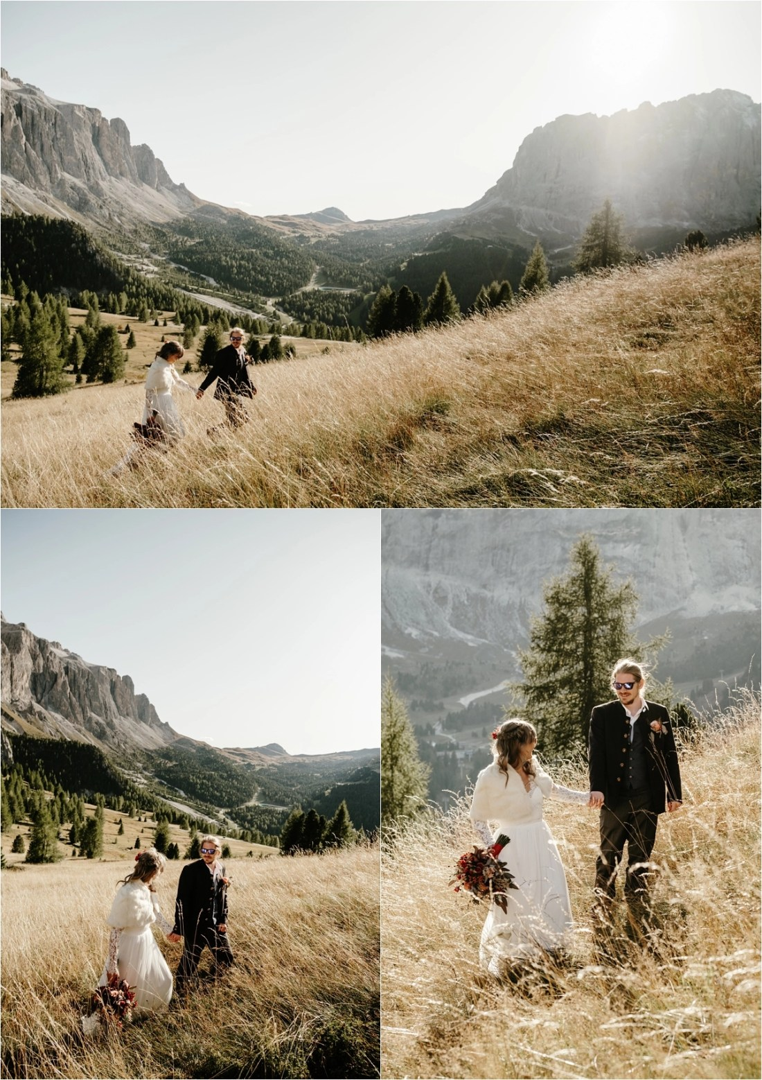 Elopement in the Dolomites in Val Gardena. Photos by Wild Connections Photography