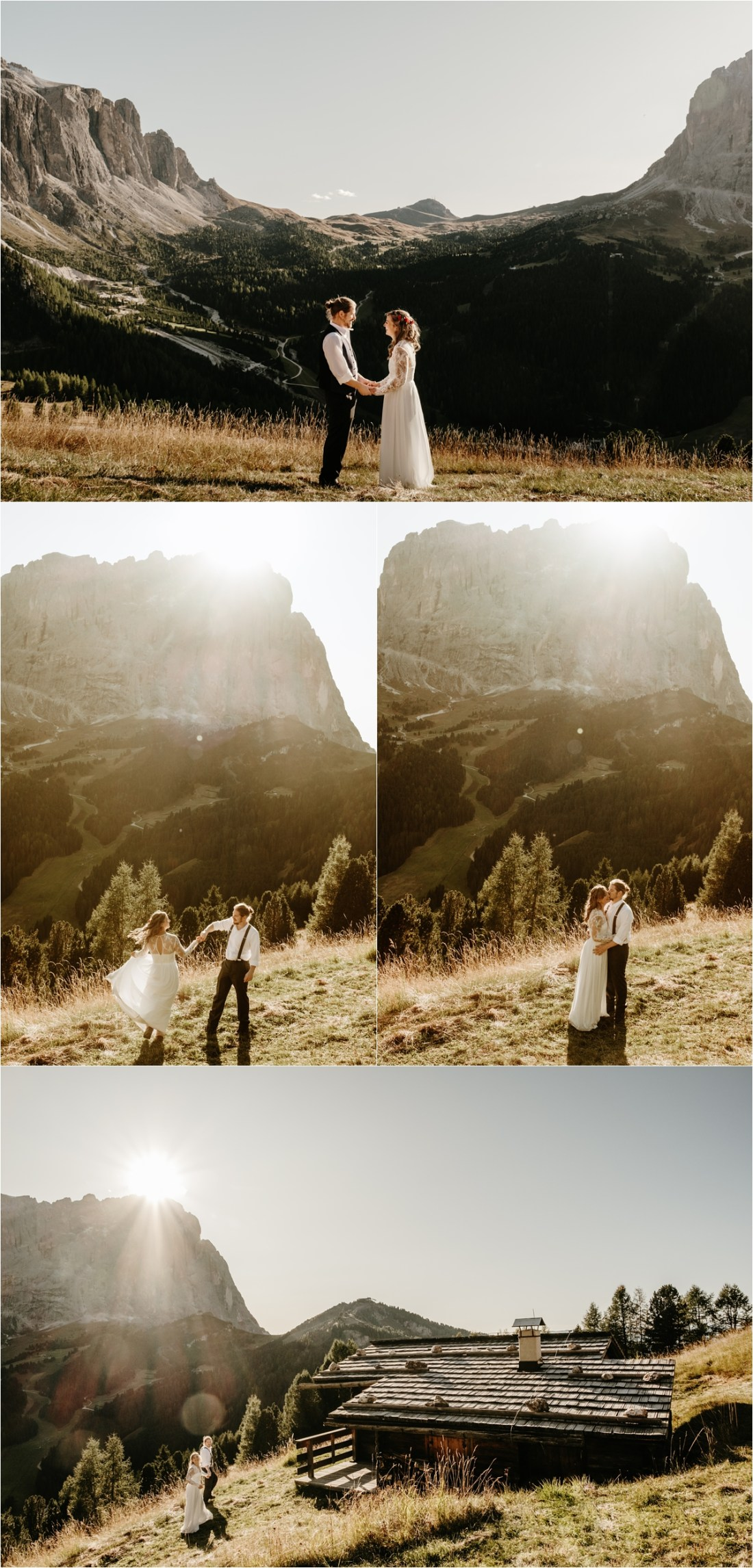 Bride and groom find a wooden mountain hut in the Dolomites. Photos by Wild Connections Photography