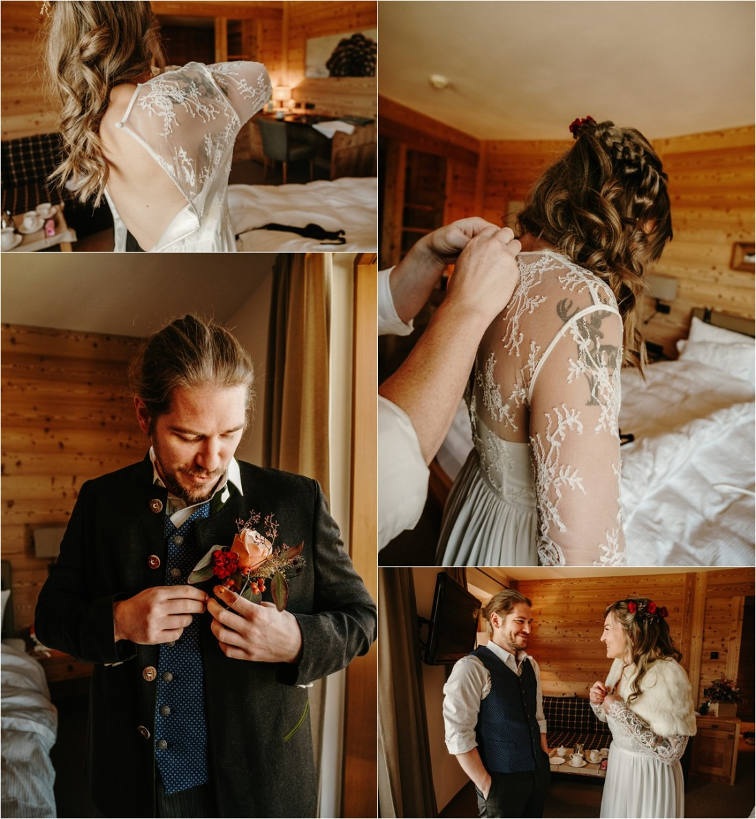 The bide and groom get ready together on their elopement day in the Dolomites. Photos by Wild Connections Photography