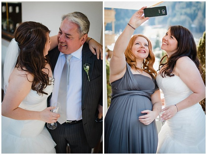 Bride's dad arrives and bride takes a selfie with her bridesmaid
