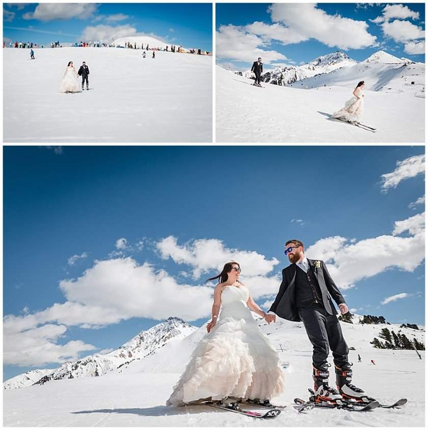 Bec and Dan take to the slopes of the Ahorn in Mayrhofen on skis in the wedding outfits