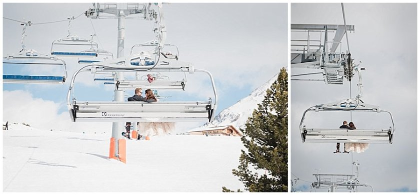 The bride and groom ride the chairlift in the ski resort of Mayrhofen in Austria