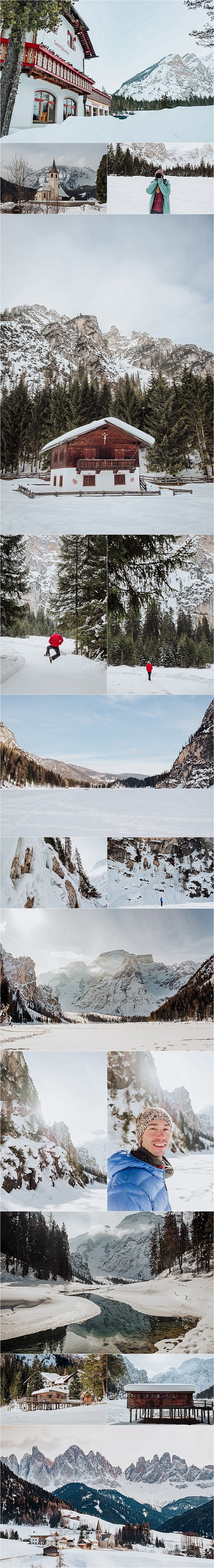 Around the town of Braies and Lake Braies in the Dolomites in Winter by adventure wedding photographer Wild Connections Photography