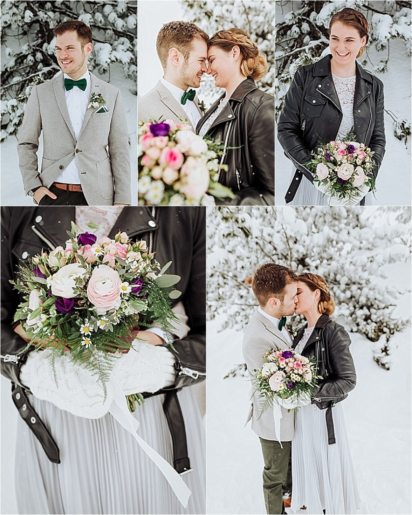 A leather jacket and mittens for this winter bride for her winter mountain elopement in Mayrhofen Austria by Wild Connections Photography