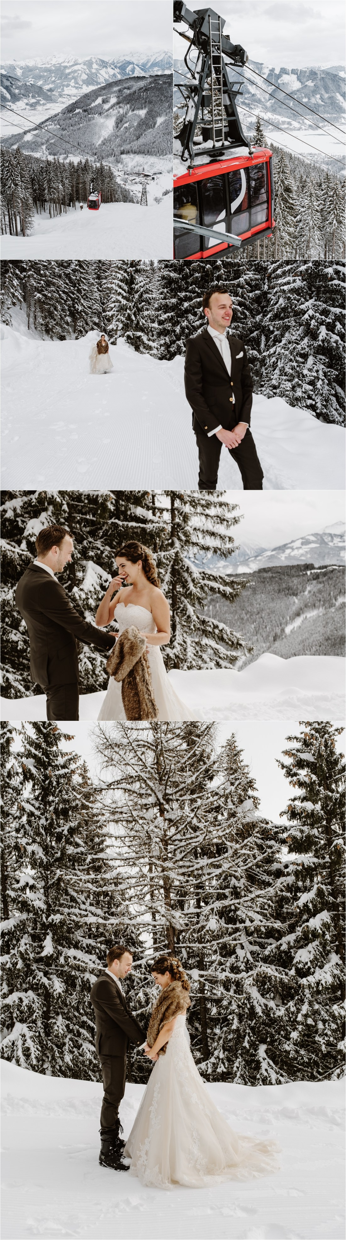 Inge & Martijn have an emotional first look on the mountain in Zell Am See before their snowboard wedding by Wild Connections Photography