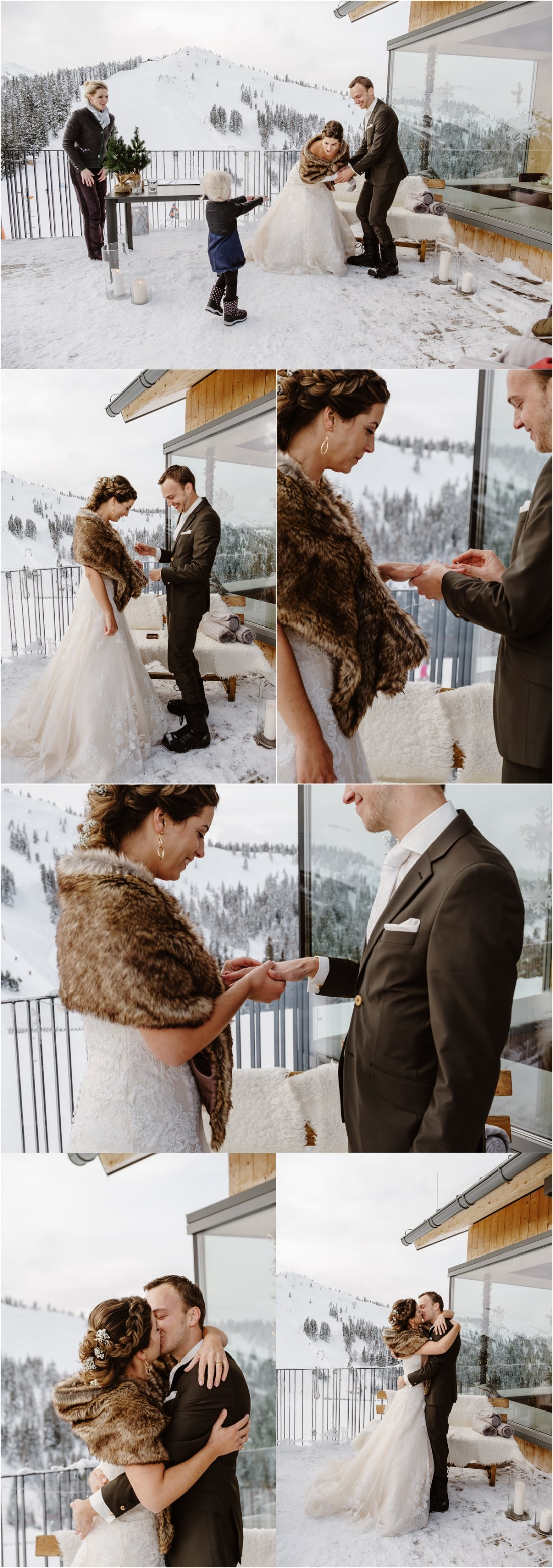 The couple exchange their wooden wedding rings at their mountain ceremony in Austria by Wild Connections Photography
