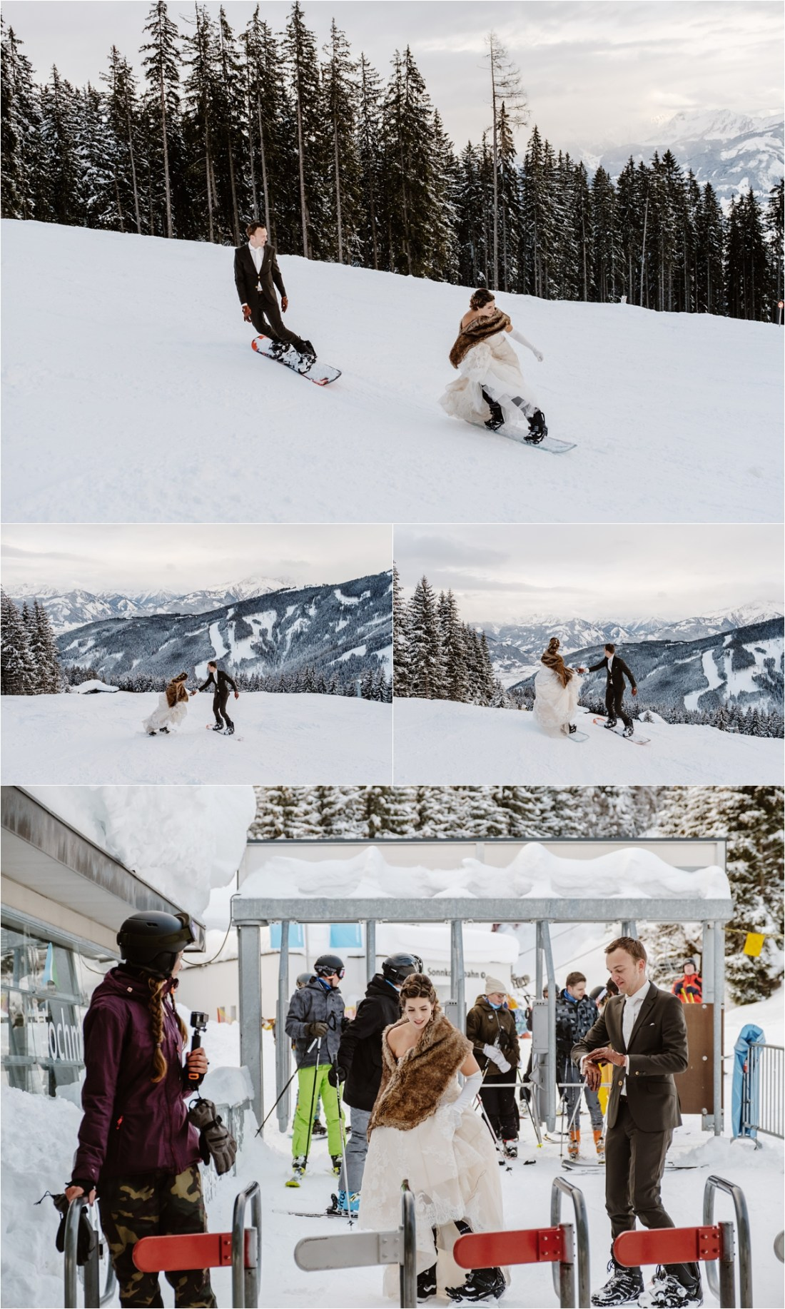 A snowboarding bride and groom by Wild Connections Photography