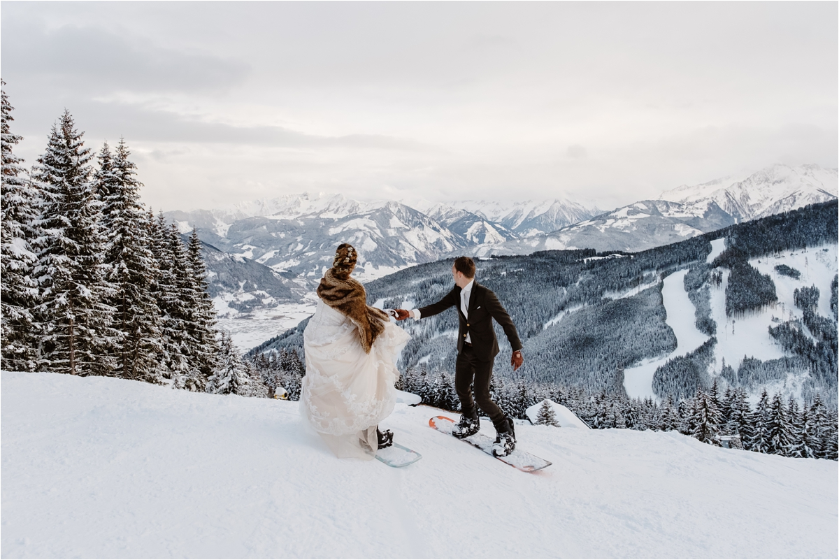 A Snowboard Wedding At The Schmiedhof Alm in Zell Am See Austria by Wild Connections Photography