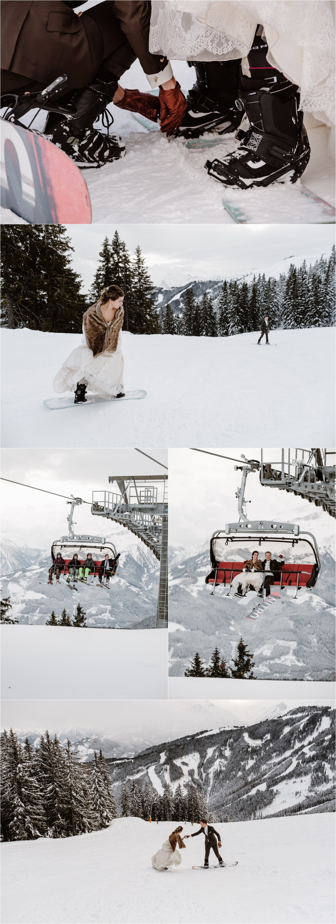 The bride and groom go snowboarding after their mountain wedding ceremony by Wild Connections Photography