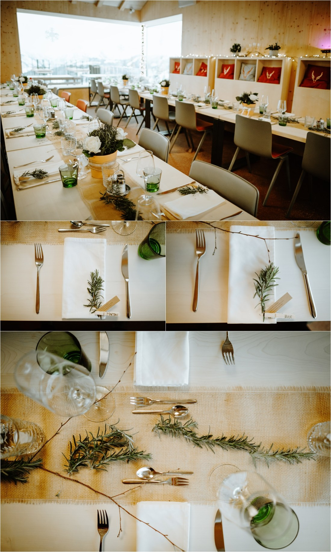 Simple, rustic wedding reception details in the Schmiedhof alm mountain restaurant in the Austrian Alps by Wild Connections Photography