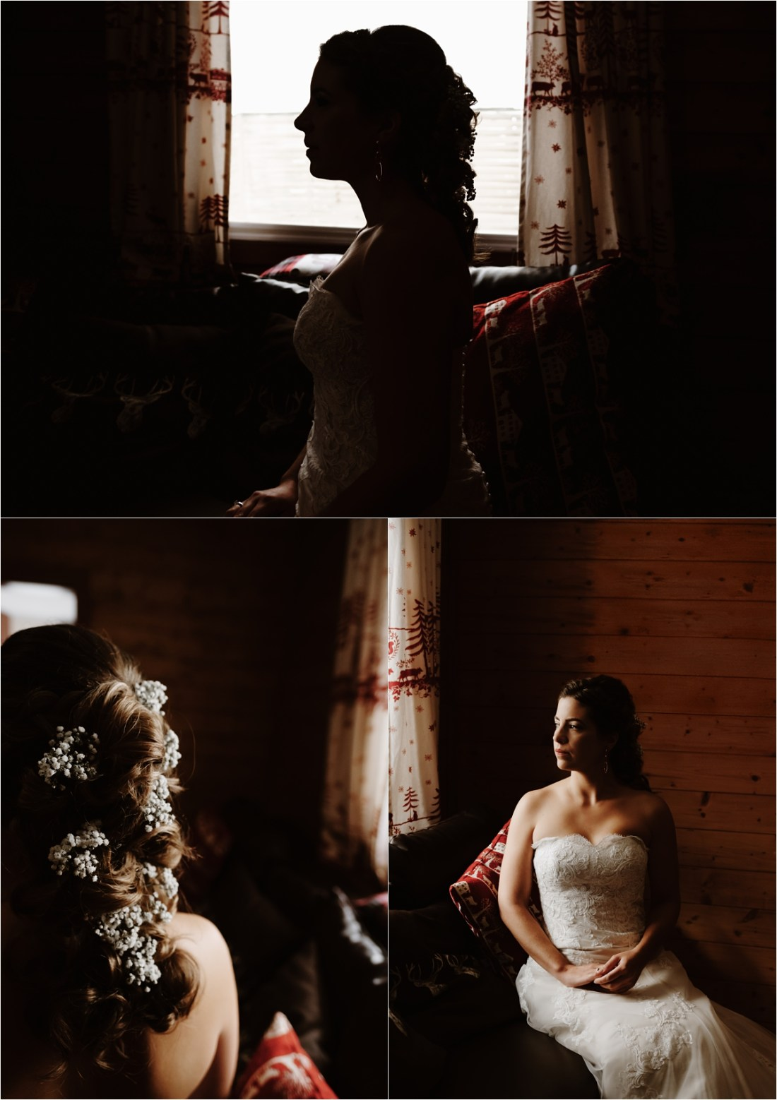 Bride Inge waits in her ski chalet before her destination wedding in the Austrian Alps by Wild Connections Photography