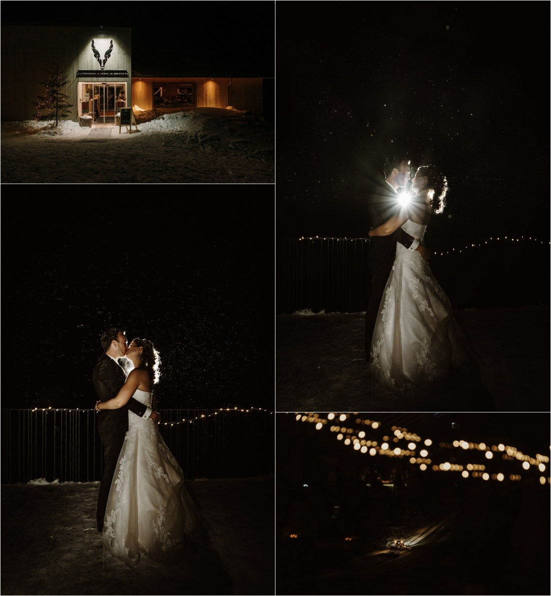 Night portraits of the bride and groom at the Schmiedhofalm mountain restaurant in Austria by Wild Connections Photography