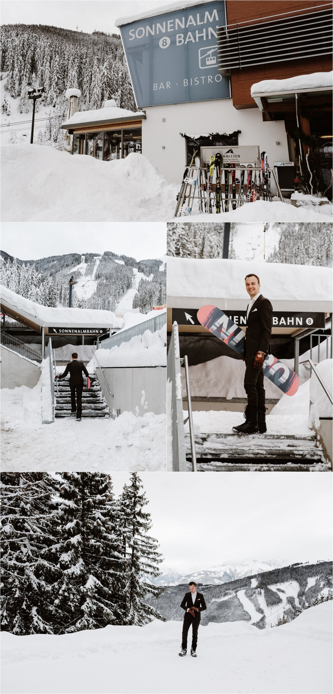 This snowboarding groom waits for his bride on top of the mountain for their winter wedding by Wild Connections Photography