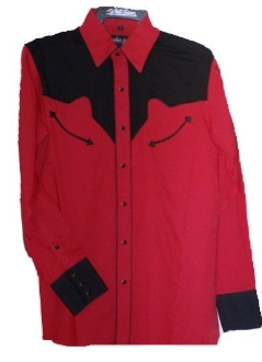 Mens Two Tone Red And Black Retro Piped Western Shirt