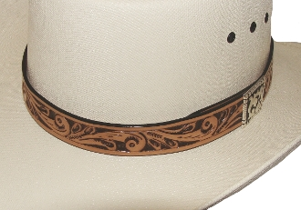 1 Carved Leather Brown Hat Band