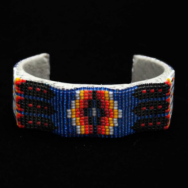 Blue Ribbed Beaded Bracelet