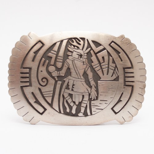 Eddison Wadsworth Hopi Storyteller Silver Belt Buckle