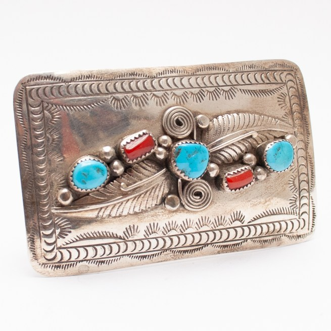 Turquoise Coral Belt Buckle