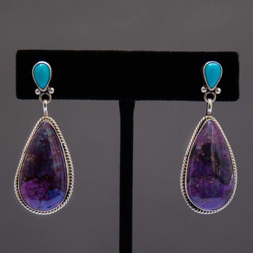 Native American Navajo Sugilite Turquoise Drop Earrings