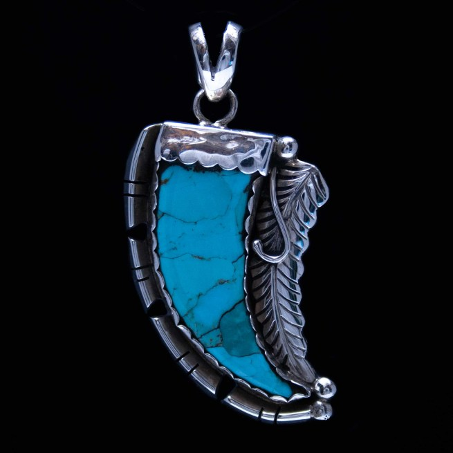Native American Turquoise Claw Pendant