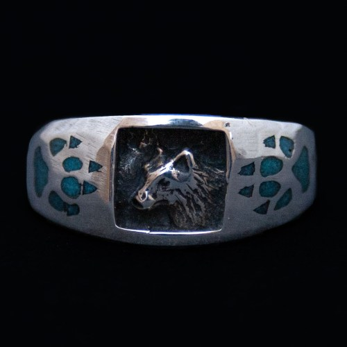 Wolf Turquoise Chip Ring