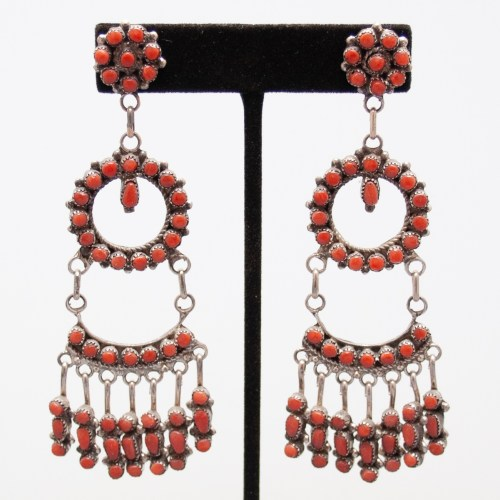 Phyllis Laate Large Red Coral Earrings
