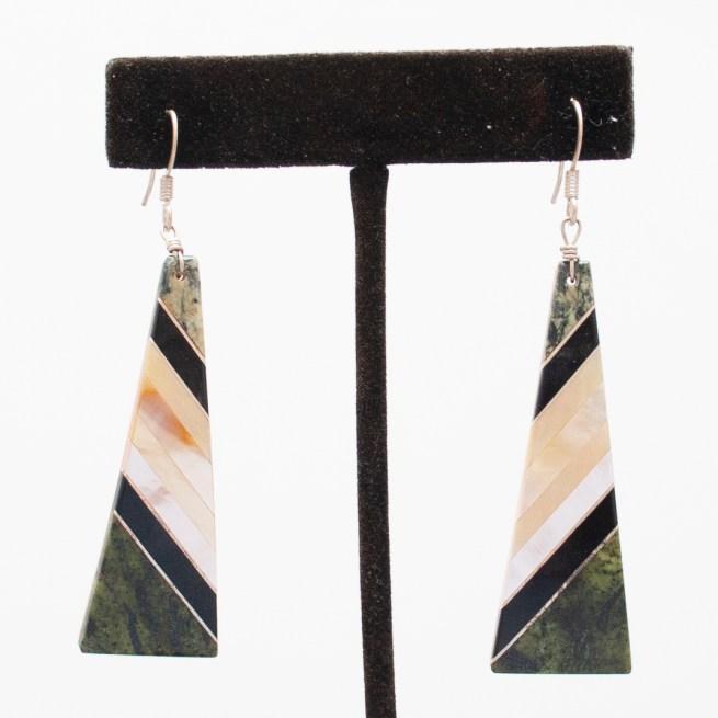 Green Black White Earrings