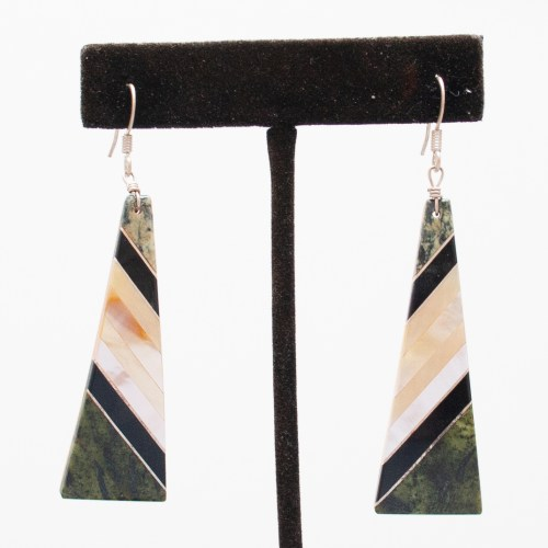 Green Black White Earrings