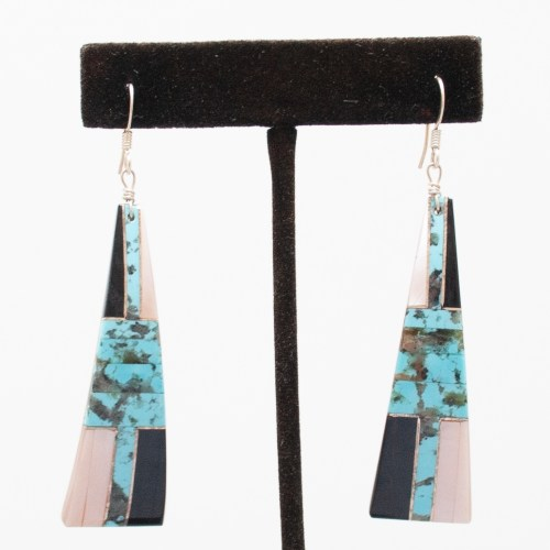 Blue Black White Earrings