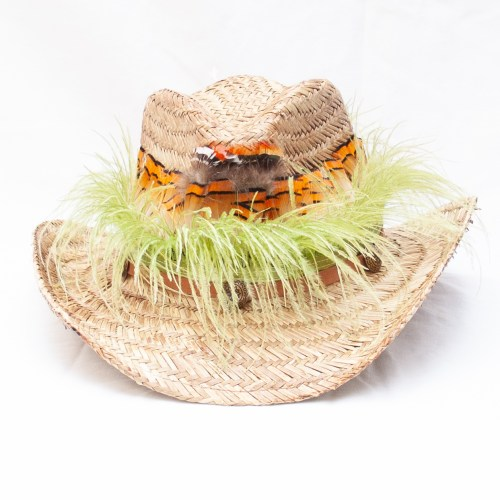 Feather Straw Festival Hat