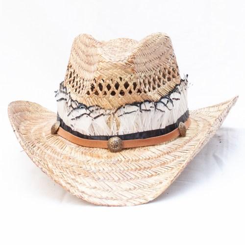 Chapeau Cowboy Paille Plumes Noires Blanches