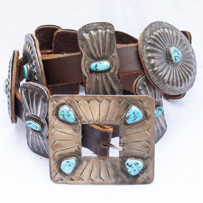 Native American Navajo turquoise concho belt by Billie Williams