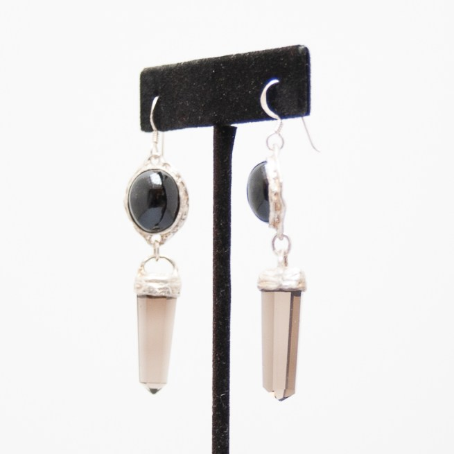 Black Onyx Smoky Quartz Earrings