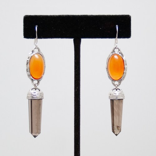 Carnelian Smoky Quartz Earrings