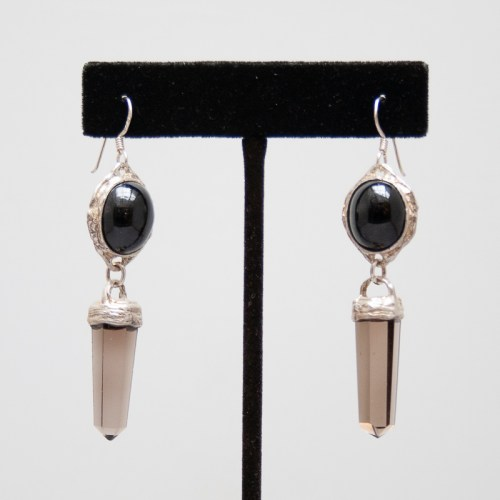 Onyx Smoky Quartz Earrings
