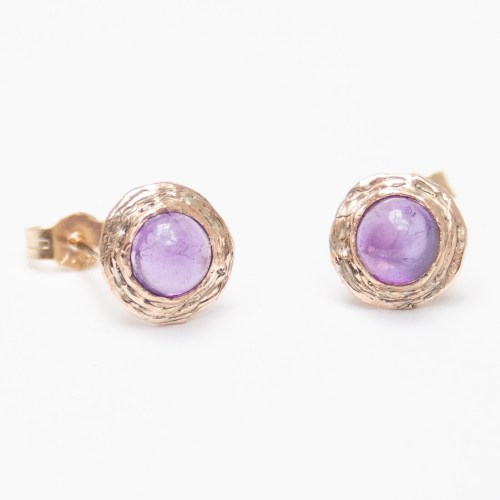 9K Gold Amethyst Stud Earrings