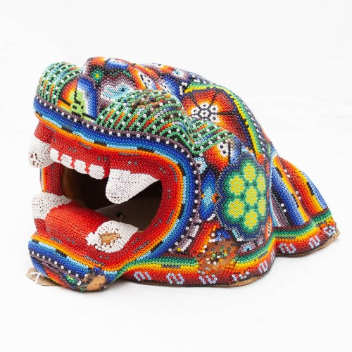 Large Beaded Jaguar Head