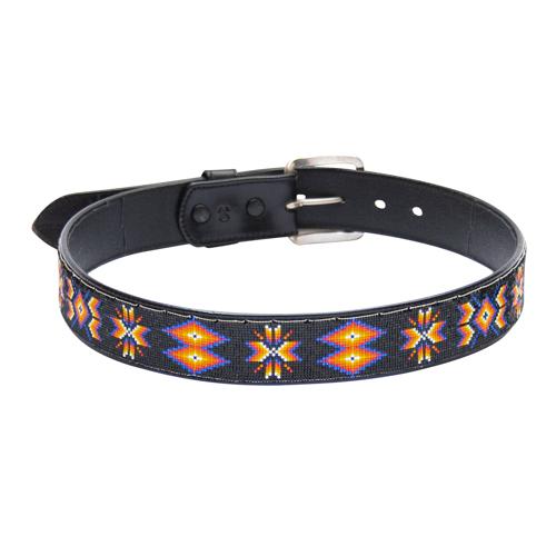 Leather Belt Traditional Beadwork