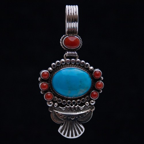 Navajo Turquoise Coral Silver Pendant