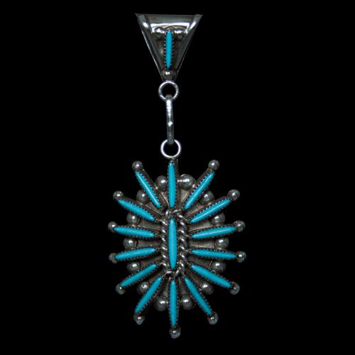 Needlepoint Zuni Turquoise Pendant