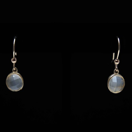 Small Gold Moonstone Drop Earrings