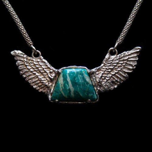 Amazonite Silver Winged Necklace