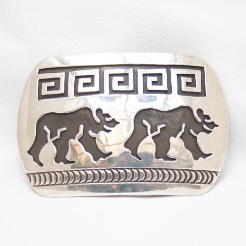 Silver Bear Belt Buckle