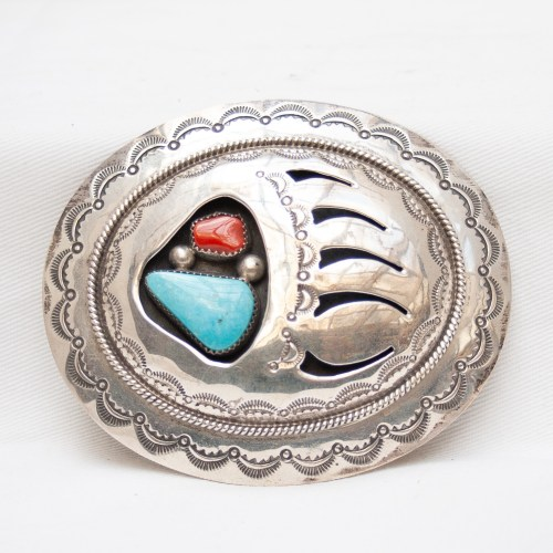 Wilbur Muskett Bear Paw Shadow Box Belt Buckle
