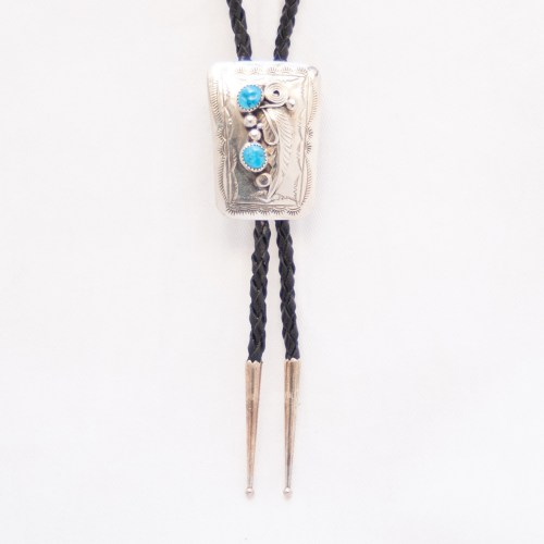 Silver Turquoise Bolo Tie