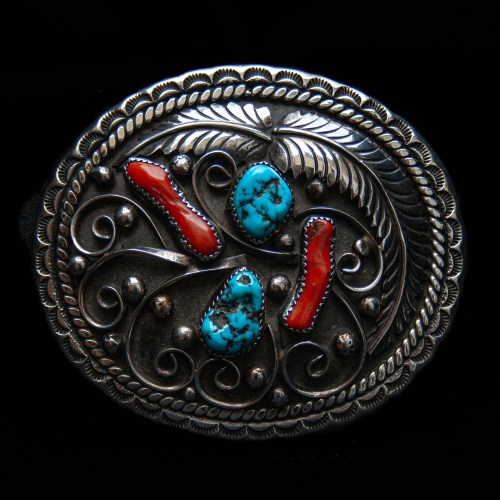 Turquoise Coral Navajo Belt Buckle
