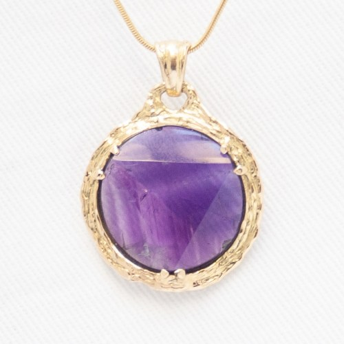 Faceted Amethyst Gold Pendant