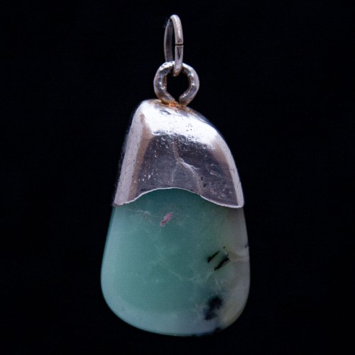 Green Chrysoprase Silver Necklace